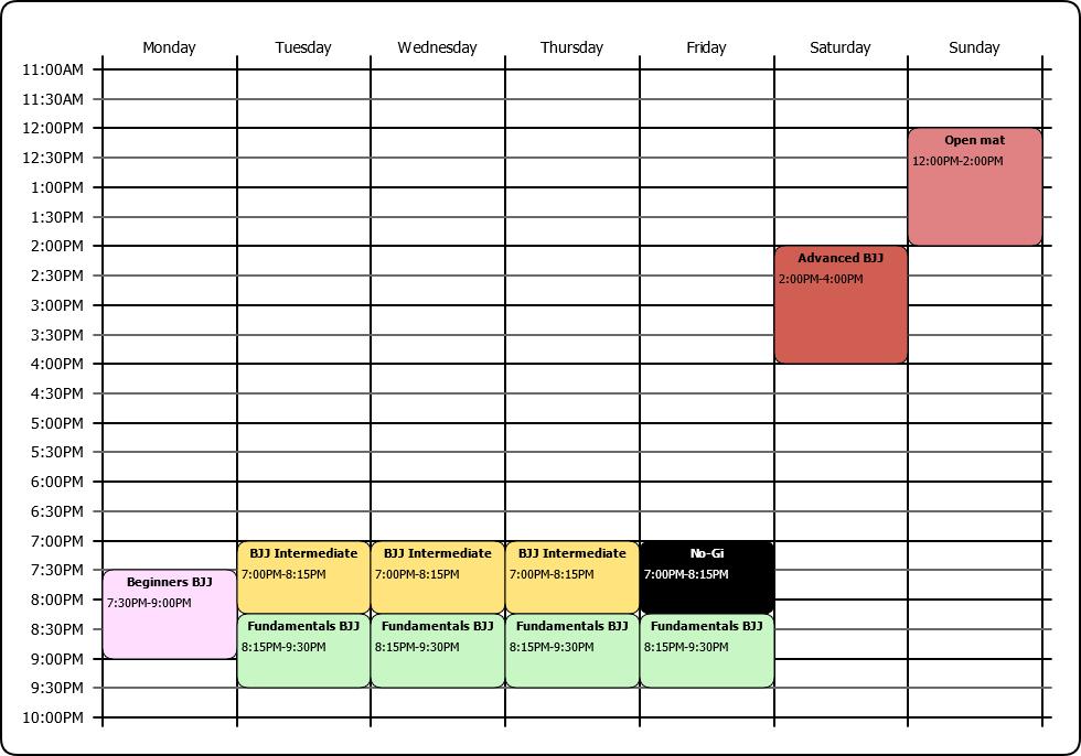 BJJ Oxford timetable