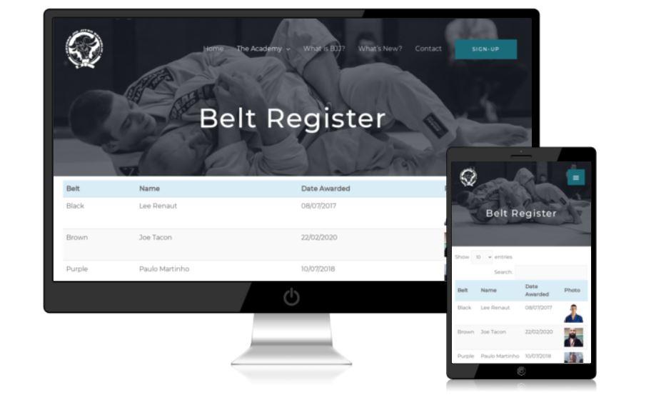 BJJ Oxford Belt Register